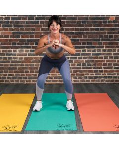Davina McCall PVC Yoga mat 5 mm Picture showing Davina presenting the 3 different colours available