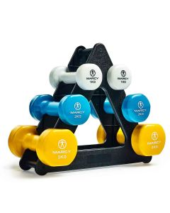 Marcy DB2126-12KG Vinyl Dumbbell Set with Triangle Stand