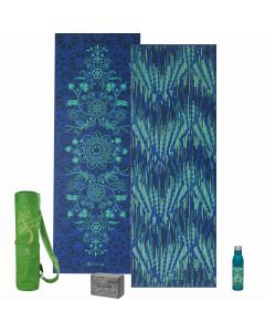 Gaiam Divine Impressions Yoga Premium Selection picture showing the Divine Impressions Reversible 6 mm thick yoga Mat, The Palm Water Bottle, The Granite marbled yoga Block and the Tree of Wisdom yoga Mat