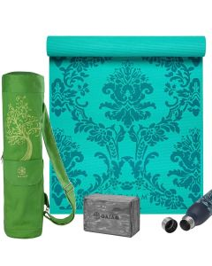 Gaiam Spring Yoga Classic Selection picture showing the Neo-baroque 4 mm yoga mat, the Tree of Wisdom yoga mat Bag, the Granite Marble yoga Block and the Spring Parsley water Bottle