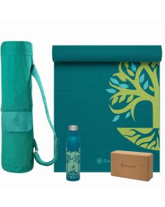 GAIAM ROOT TO RISE YOGA SELECTION picture showing the yoga mat, the yoga bag, the yoga cork block and the bottle