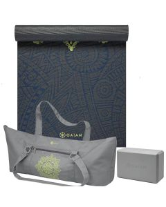 Gaiam Premium Sundial Yoga Set picture showing the Sundial Layers yoga mat, the grey block and the Citron Sundial Bag