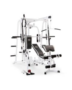 White Smith Machine and weight bench with black upholstery