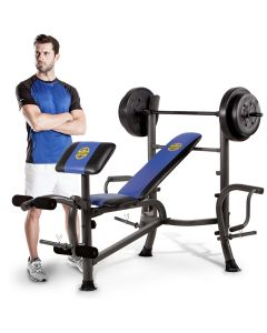 Marcy MWB-36780B Weight Bench with a male model stood next to the bench