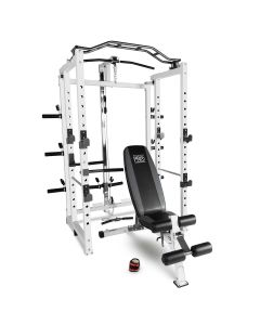 Marcy Pro Folding Power Cage Home Gym with Weight Bench