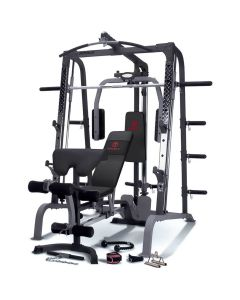 An image of the Marcy SM-4000 smith machine with black upholstery and red marcy logo
