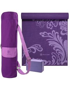 Gaiam Purple Watercress Yoga Selection picture showing the Sparkling Grapes yoga mat bag, the Purple Yoga Block and the Watercress Yoga Mat