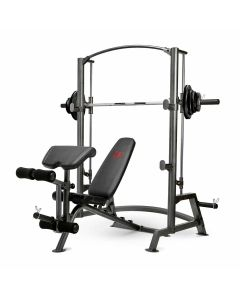 MARCY SM-1050 SMITH MACHINE SQUAT RACK WITH FULL WEIGHT BENCH & 80 KG ECO WEIGHT PLATES SET