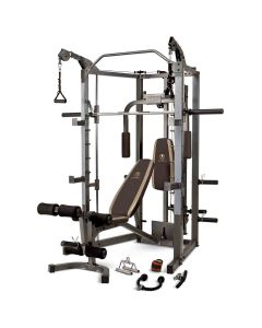 An image of the SM-4008 smith machine with brown upholstery