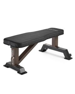 Steel body by Marcy STB-10101 weight bench with black upholstery and brown 14-inch steel framework