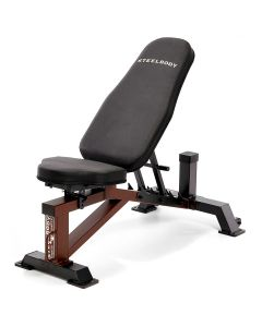 Steelbody by Marcy STB-10105 weight bench with white Steelbody logo, black upholstery and brown framework