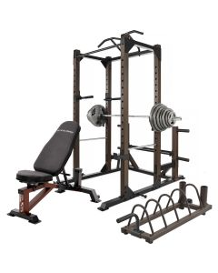 SteelBody by Marcy Monster Power Cage & Weight Bench with 140kg Set & Storage