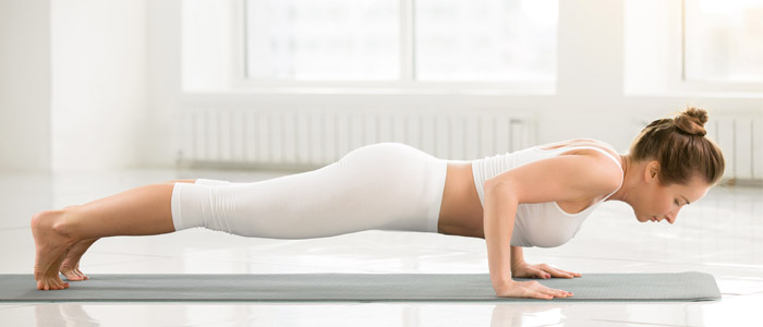 person performing a push up