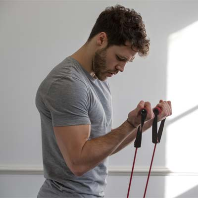 person using a resistance band