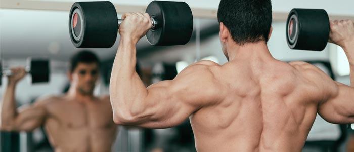 a person doing a dumbbell shoulder press