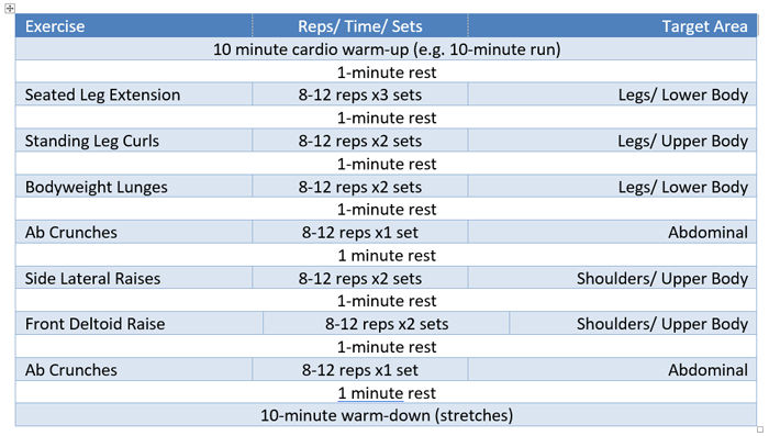 graphic about Printable Workout Plans for Men named 6-7 days Newbies Multi Gymnasium Training Program - .british isles