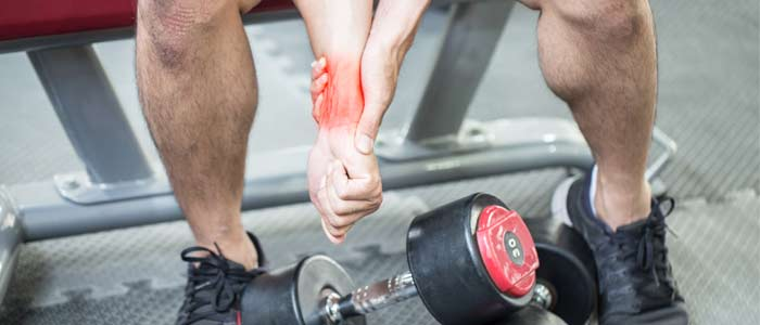 Person with an injured wrist after dumbbell used