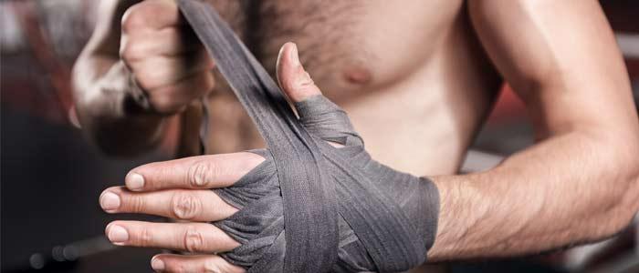 Man using hand wraps