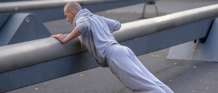 Man performing an incline push up