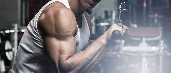 Man performing tricep push downs to finish chest and triceps workout