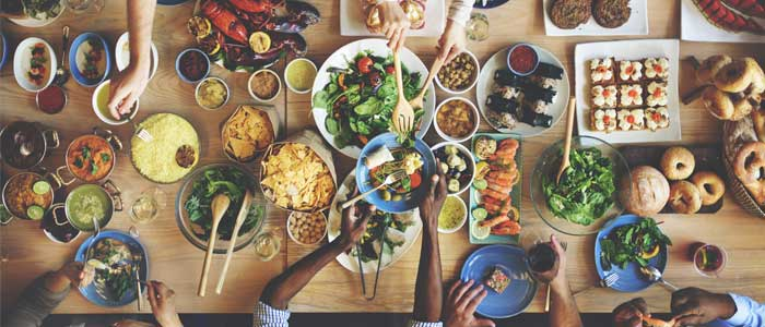 Arial view of a table of food