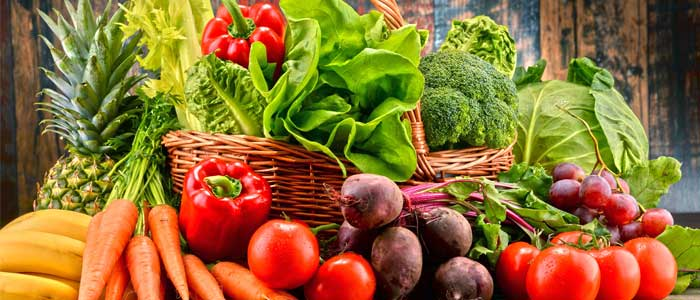 Close up shot of a basked of vegetables