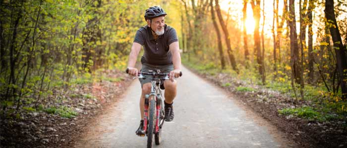 Man leisurely cycling