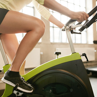 Close up of an exercise bike in use