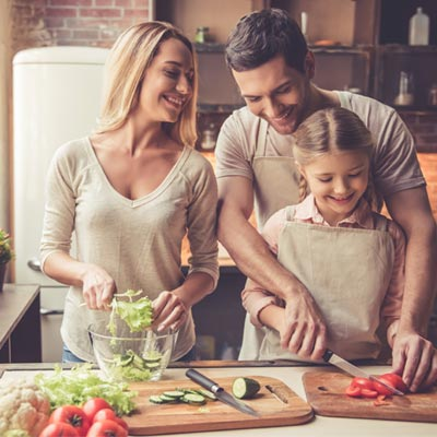 Family preparing healthy foods