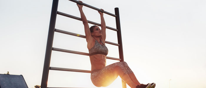 woman performing a hanging exercise