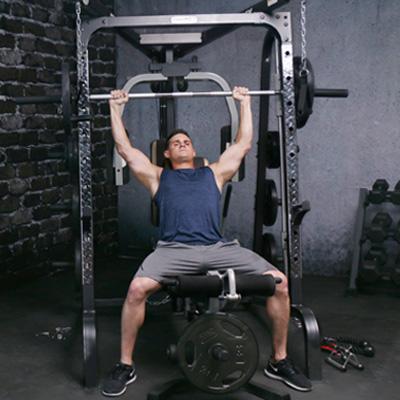 Man using a smith machine