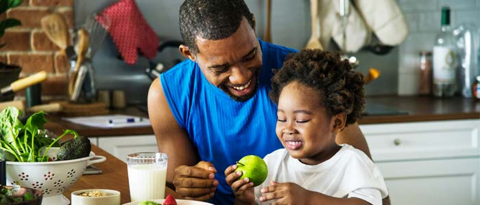 Man and his child being healthy