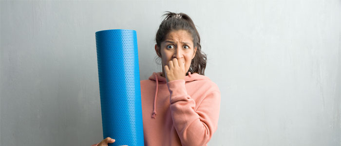 Woman with gym anxiety