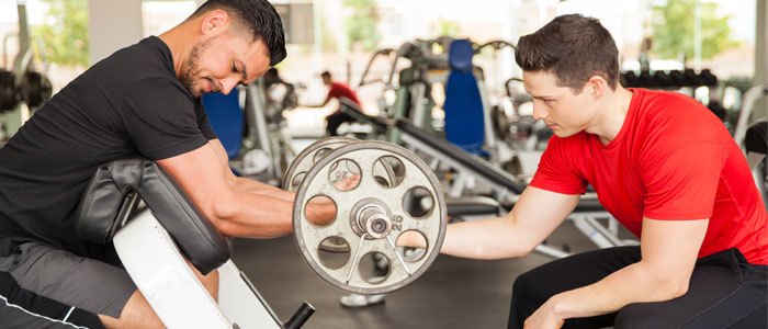 Guys bicep curling a barbell