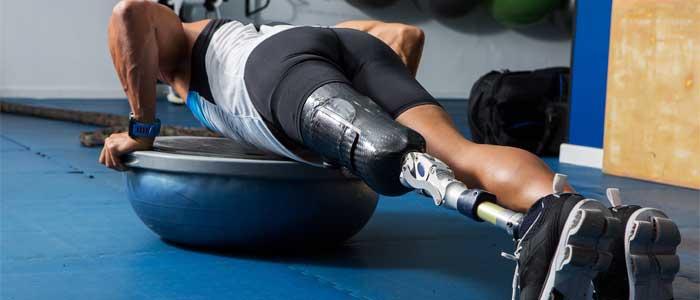 Man doing a bosu® push up exercise