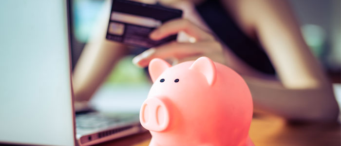 Someone saving money shopping online