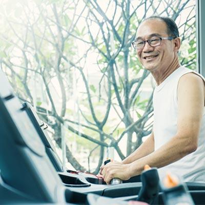 Older man using a treadmill