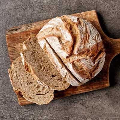 sliced bread on a breadboard