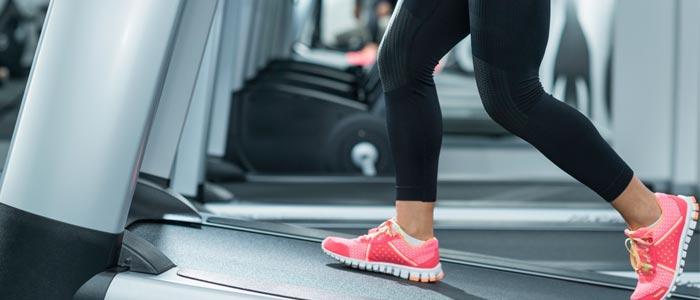 Close up shot of incline treadmill walking