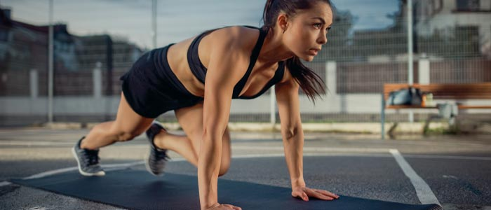 Person doing mountain climbers