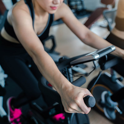 person on an exercise bike