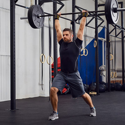person doing clean and jerk exercise