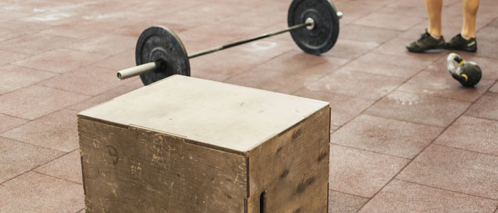 Closeup of boxes used for box squats