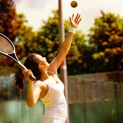 Person having fun playing tennis