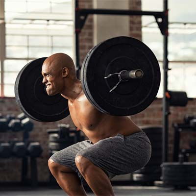 person doing squats