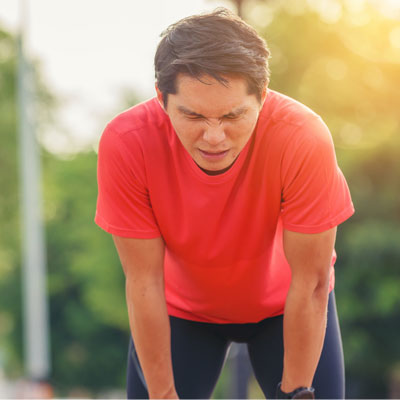 Person breathing to reduce lactic acid build up