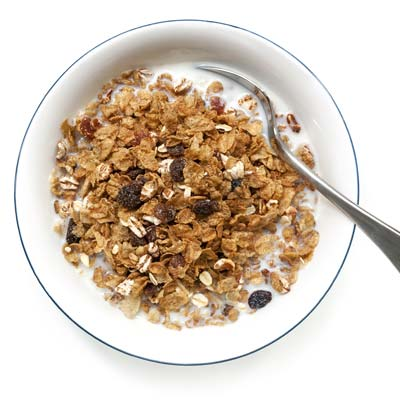 Bowl of healthy high fibre cereal