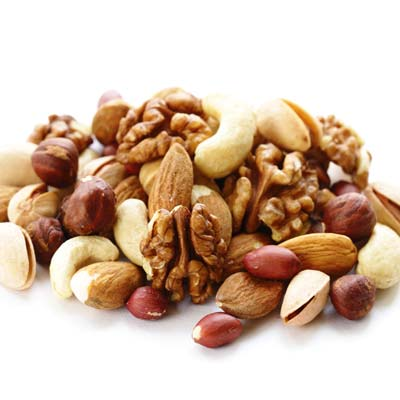 assortment of nuts high in fibre