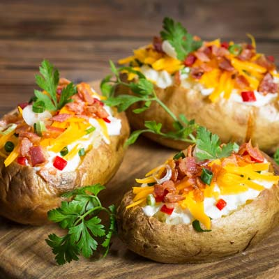 Jacket potatoes with cream cheese