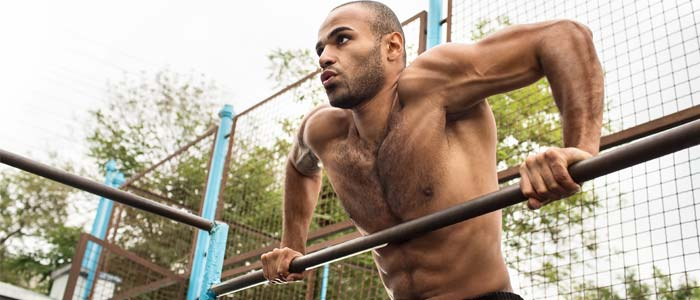 Person doing muscle ups